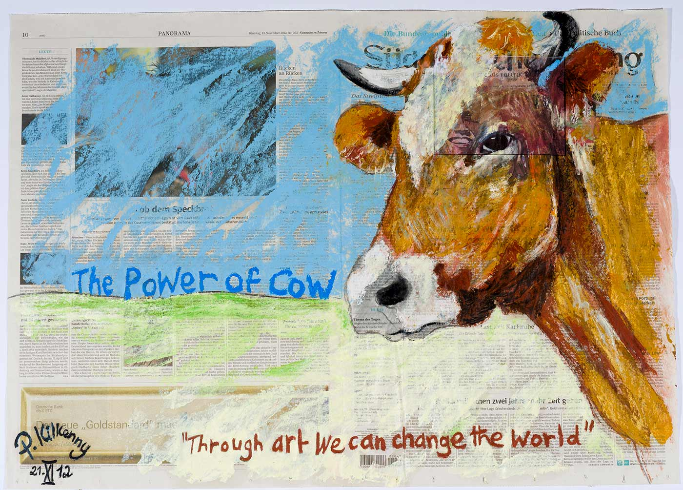 The Power of cow, oil paint on newspaper